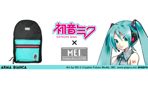 "<i class=""topics_icon topics_icon_goods""></i>「ARMA BIANCA」より「初音ミク×MEI」コラボバックパック缶バッジ3種セットが受注開始!"